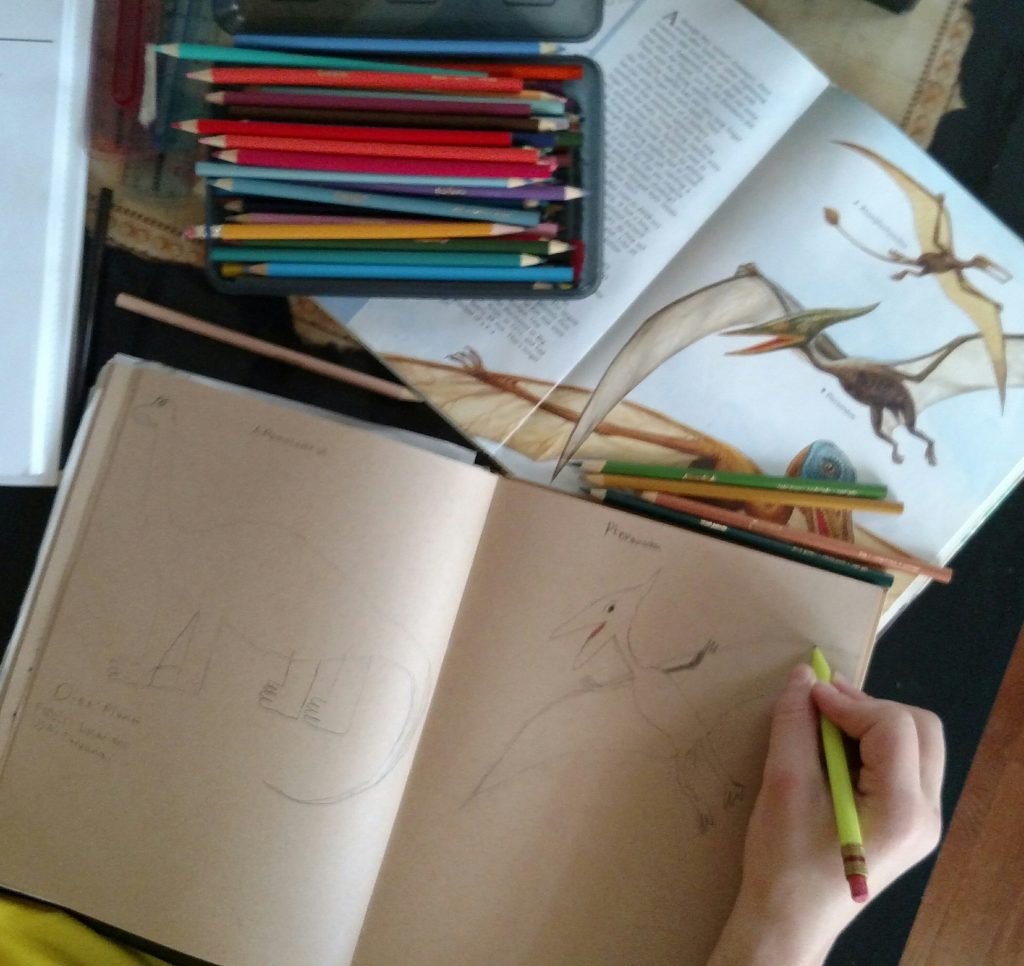 Journaling dinosaurs is part of our Charlotte Mason homeschool | www.thecharlottemasonway.com